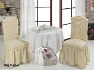 Set 6 huse elastice pentru scaune, cu volanas, Bej Natur