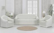 Set huse elastice pentru canapea 3 Locuri si 2 fotolii, fara volanas, Crem