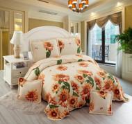 Cuvertura de pat din bumbac matlasat imprimat + 4 fete perna ES101