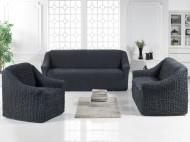Set huse elastice pentru canapea 3 locuri, canapea 2 locuri si 2 fotolii, fara volanas, cenusiu