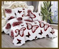 Cuvertura de pat din bumbac matlasat imprimat + 4 fete perna ES76