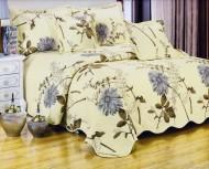 Cuvertura de pat matlasata din bumbac brodat + fete perna ES10
