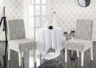 Set 6 huse Multielastice Jacquard pentru scaune, fara volanas - Crem