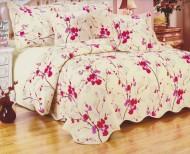 Cuvertura de pat matlasata din bumbac brodat + fete perna ES11