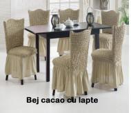 Set 6 huse elastice pentru scaune, cu volanas, Bej cacao cu lapte