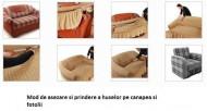 Set huse elastice pentru canapea 3 locuri, canapea 2 locuri si 2 fotolii, fara volanas, bej inchis