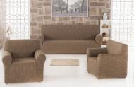Set huse Multielastice Jacquard pentru canapea 3 Locuri, canapea 2 Locuri si 2 fotolii, fara volanas, Maro Deschis