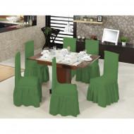 Set 6 huse elastice pentru scaune, cu volanas, Verde