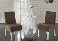 Set 6 huse Multielastice Jacquard pentru scaune, fara volanas - Maro