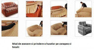 Set huse elastice pentru canapea 3 locuri, canapea 2 locuri si 2 fotolii, fara volanas, Crem