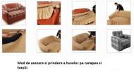 Set huse Multielastice Jacquard pentru canapea 3 Locuri, canapea 2 Locuri si 2 fotolii, cu volanas, Maro Deschis