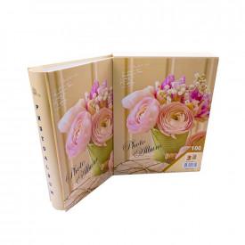 Album foto in cutie, 100 poze, 20,5x26,5 cm, Flori