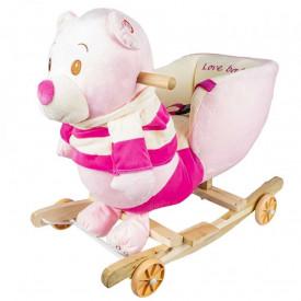 Balansoar pentru bebelusi, Ursulet, lemn + plus, cu rotile, roz, 55 cm