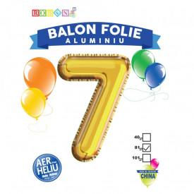 Balon, folie aluminiu, auriu, cifra 7, 81 cm