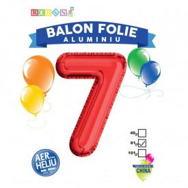 Balon, folie aluminiu, rosu, cifra 7, 81 cm