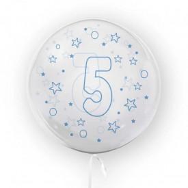 Balon transparent, 45 cm - cifra 5, baieti - TUBAN