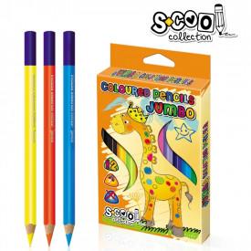 Creioane color, jumbo, 12 culori/set - S-COOL