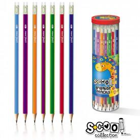 Creion grafit HB, cu radiera, triunghiular, 48 buc/cutie - S-COOL