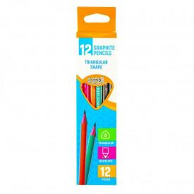 Creion grafit HB, triunghiular, 12 buc/cutie - S-COOL