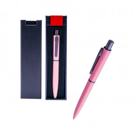 Pix metal roz in cutie cadou, cu mecanism, mina albastra - OFFISHOP