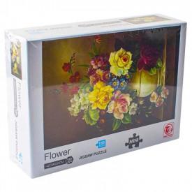 Puzzle carton mini, Vaza cu flori, 1000 piese