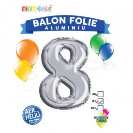 Balon, folie aluminiu, argintiu, cifra 8, 81 cm