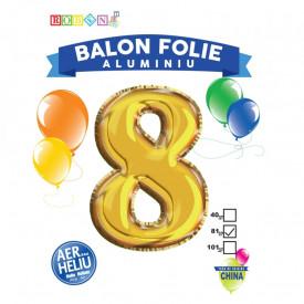 Balon, folie aluminiu, auriu, cifra 8, 81 cm