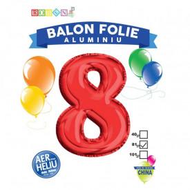 Balon, folie aluminiu, rosu, cifra 8, 81 cm