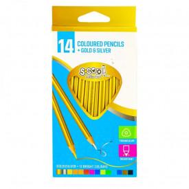 Creioane color,auriu,argintiu, 14 culori/set - S-COOL