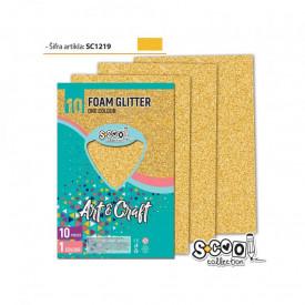 Hartie buretata, glitter, aurie, 10 buc/set, 20x30 cm - S-COOL
