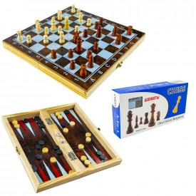 Joc 3 in 1: sah, table, dame! Cutie lemn, 29.5x14.5cm