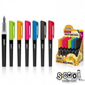 Stilou corp negru/capac color, 24 buc/blister - S-COOL