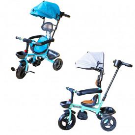 Tricicleta cu pedale, maner si parasolar