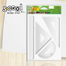 Trusa geometrie, 3 piese/set, liniar 20 cm - S-COOL