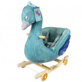 Balansoar pentru bebelusi, Paun, lemn + plus, cu rotile, 66 cm