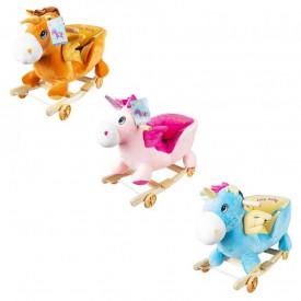 Balansoar pentru bebelusi, Unicorn, lemn + plus, cu rotile, roz/albastru, 56 cm