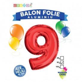 Balon, folie aluminiu, rosu, cifra 9, 81 cm