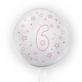 Balon transparent, 45 cm - cifra 6, fete - TUBAN