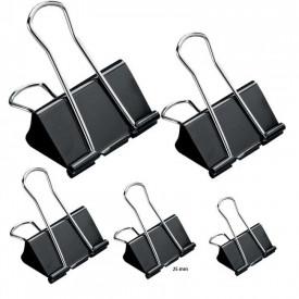 Clipsuri metalice, negre, 25mm, 12buc/set - OFFISHOP