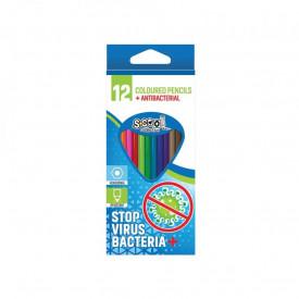 Creioane color, antibacteriale, 12 cul/set - S-COOL