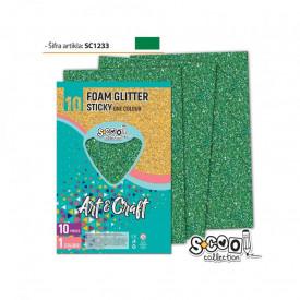 Hartie buretata, adeziva, glitter, verde, 10 buc/set, 20x30 cm - S-COOL
