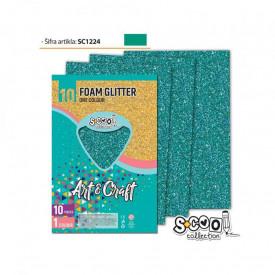 Hartie buretata, glitter, verde, 10 buc/set, 20x30 cm - S-COOL