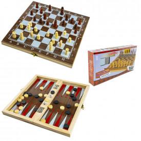 Joc 3 in 1: sah, table, dame! Cutie lemn, 34x17cm