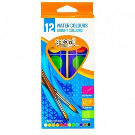 Acuarele, 12 culori, 28 mm , pensula, cutie carton - S-COOL