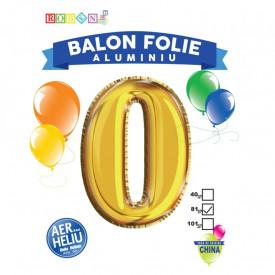 Balon, folie aluminiu, auriu, cifra 0, 81 cm