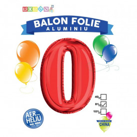 Balon, folie aluminiu, rosu, cifra 0, 81 cm