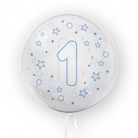 Balon transparent, 45 cm - cifra 1, baieti - TUBAN
