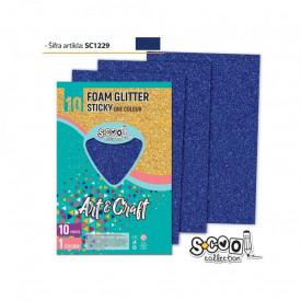 Hartie buretata, adeziva, glitter, albastra, 10 buc/set- S-COOL