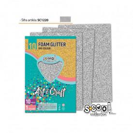 Hartie buretata, glitter, argintie, 10 buc/set, 20x30 cm - S-COOL