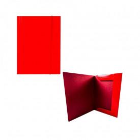 Mapa F4 cu elastic, din carton, 600g/mp, rosie - OFFISHOP